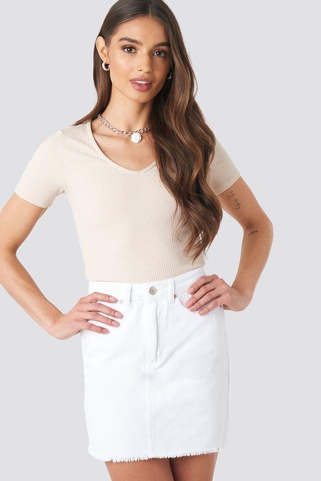 Raw Hem Denim Skirt Trendyol