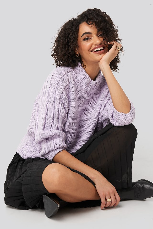 Ribbed Bat Sleeve Knitted Sweater Lila