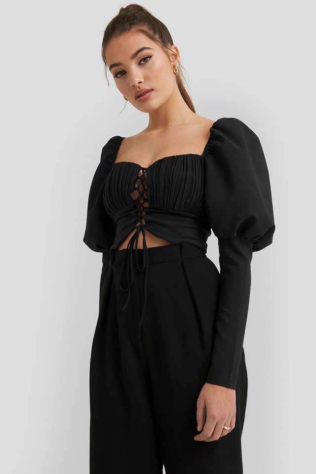 Ribbed Detail Blouse Black