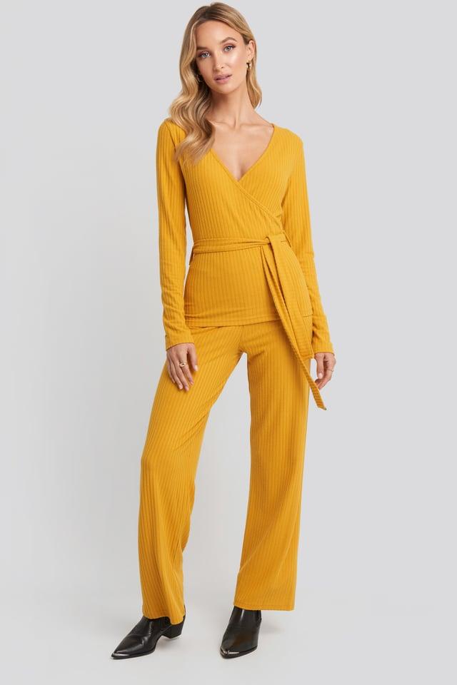 Ribbed Pyjama Set Mustard