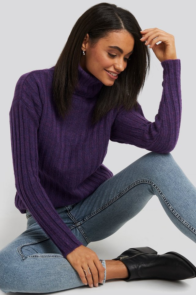 Ribbed Turtleneck Knitted Sweater Purple