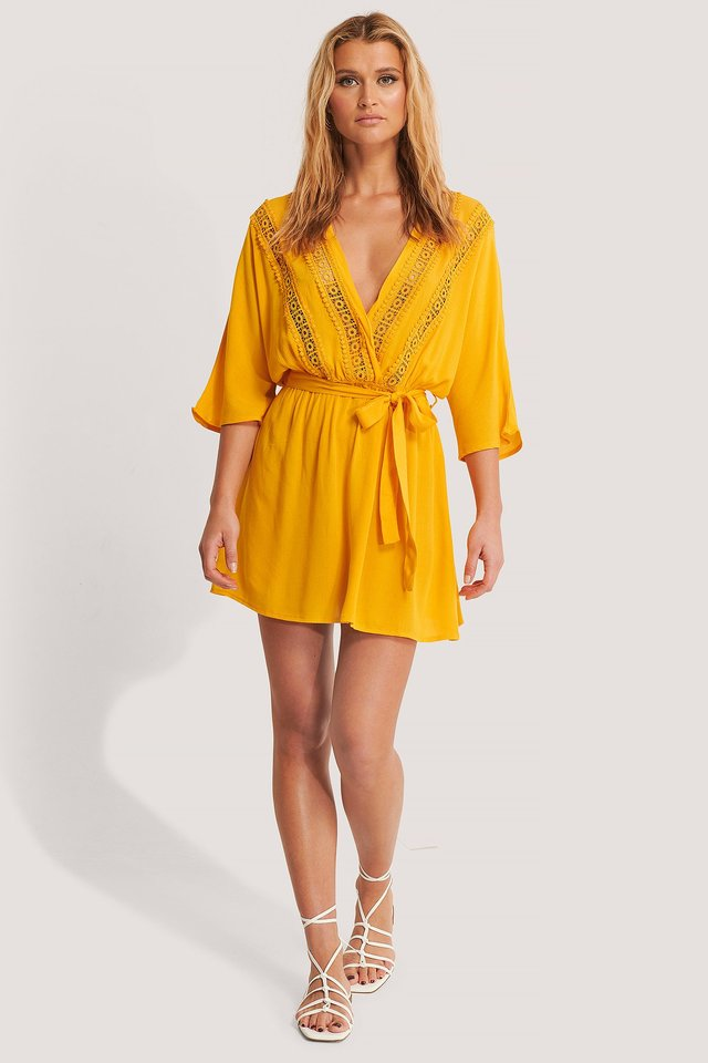 Ribbon Accessory Detailed Dress Mustard