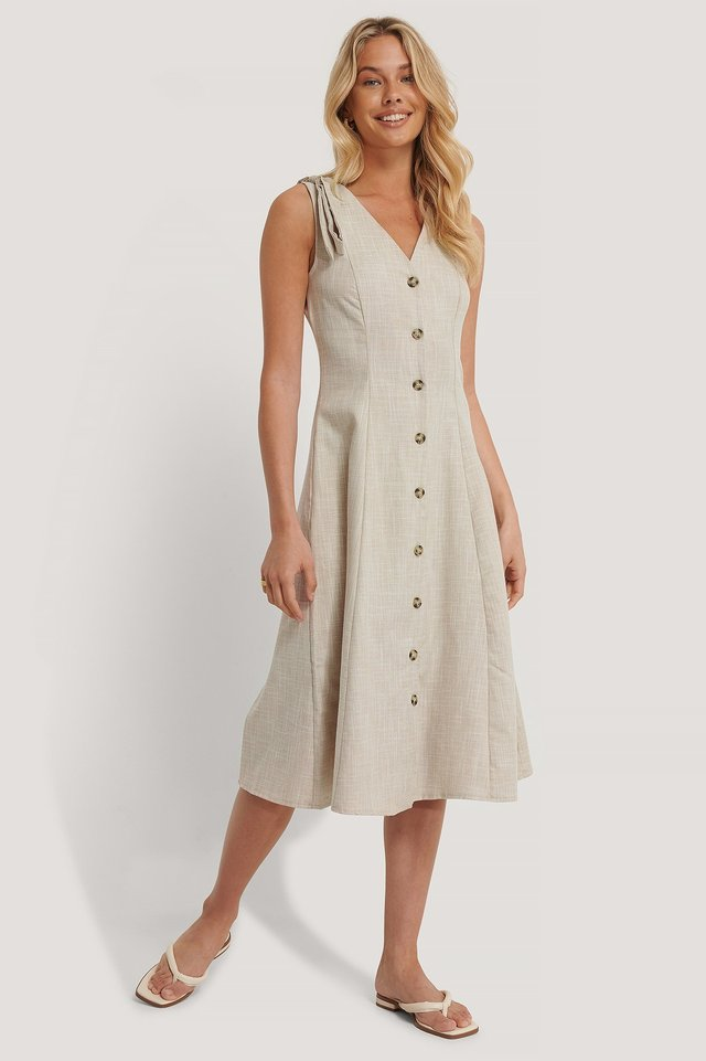 Ribbon Detail Midi Dress Stone
