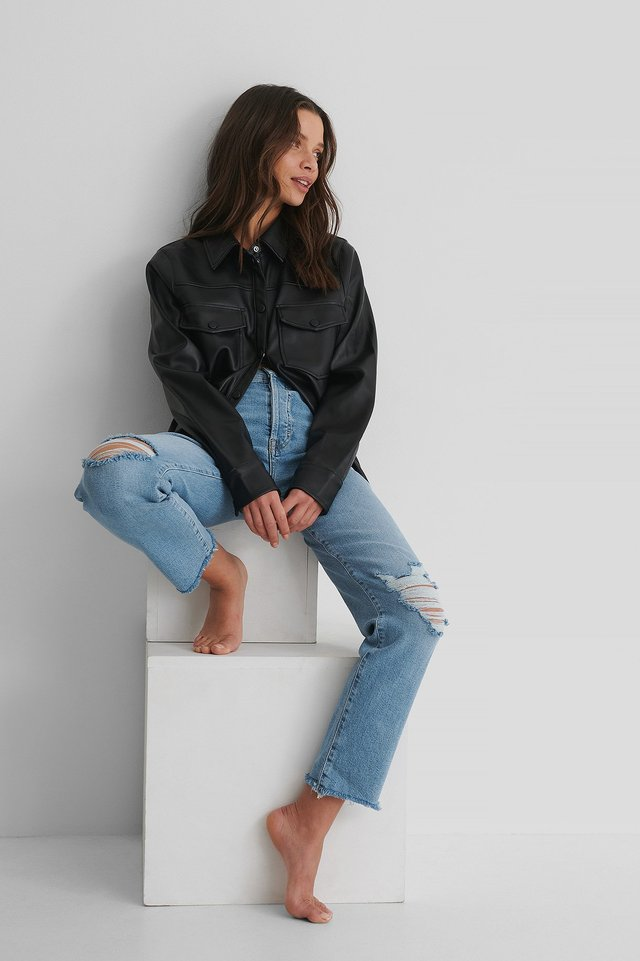 Ripped Straight Jeans Blue