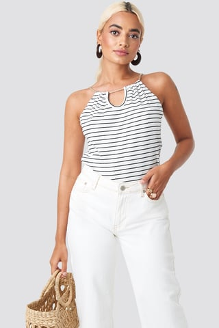 White Rope Detailed Striped Top
