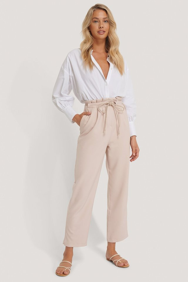 Rope Detailed Trousers Beige
