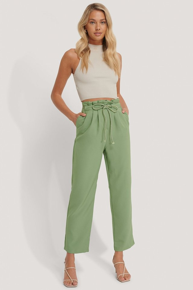 Rope Detailed Trousers Mint