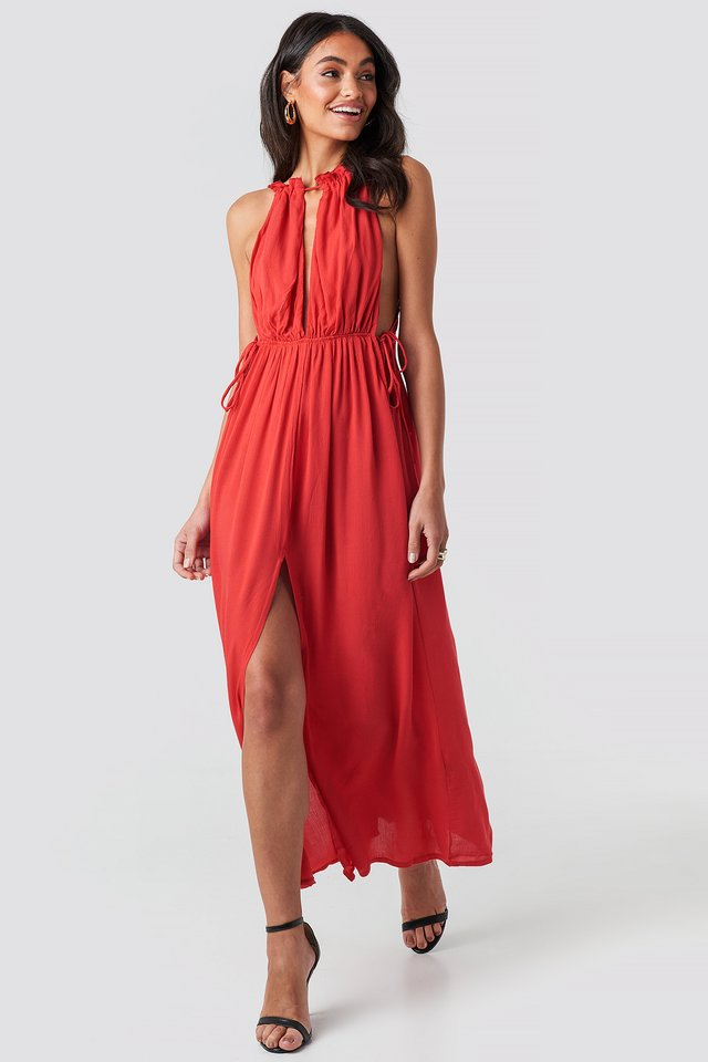 Rope Suspender Maxi Dress Red