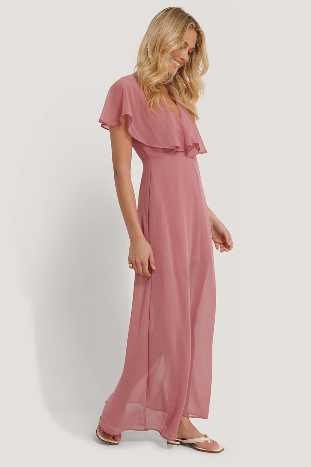 Rose Frilly Dress Dusty Rose