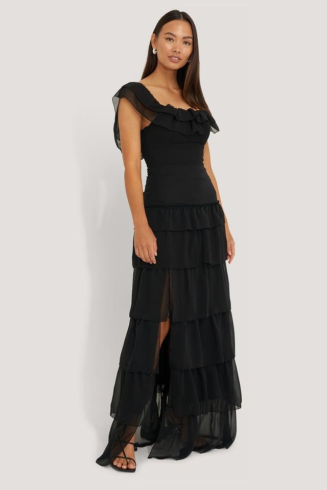 Ruffle Detail Evening Dress Black