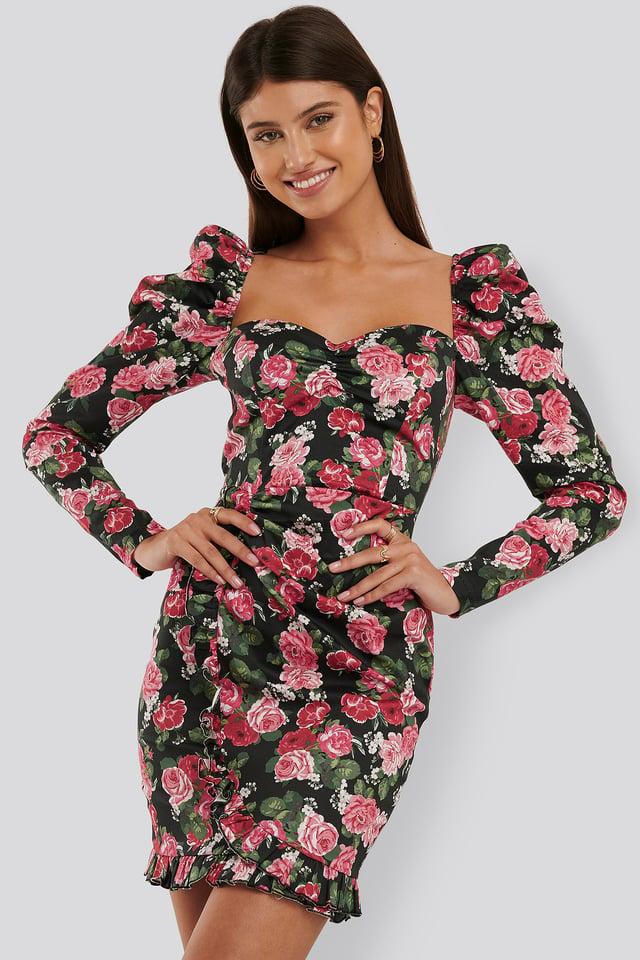 Ruffle Detail LS Mini Dress Pink