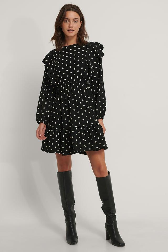 Ruffle Mini Dress Black