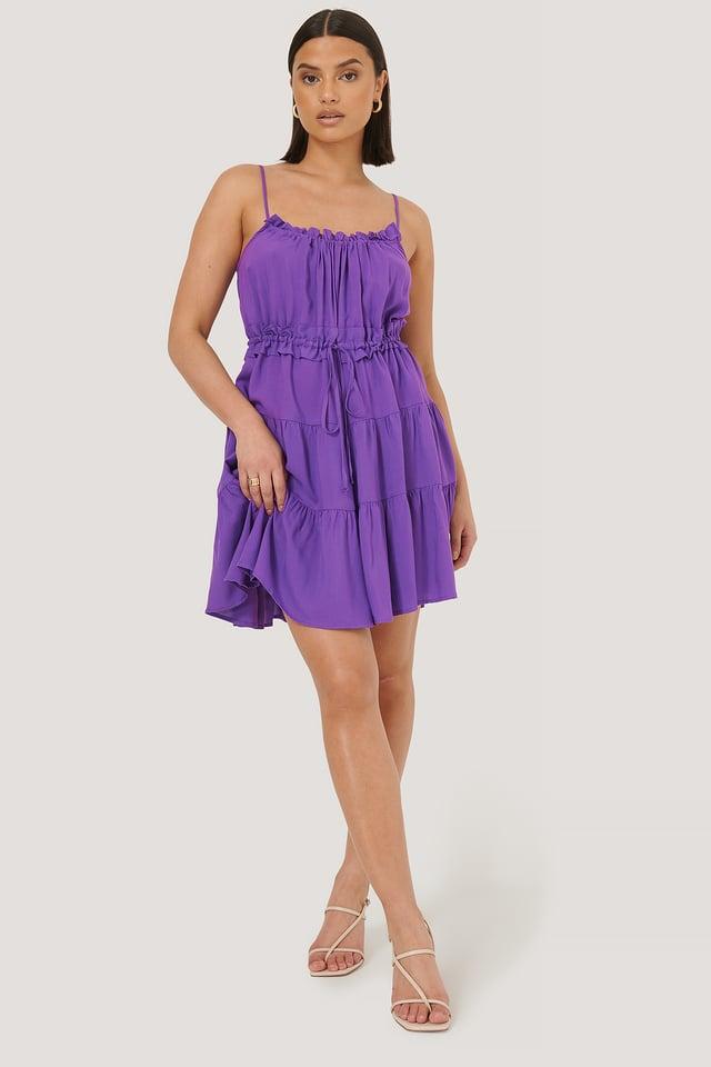Minikjole Med Rysjer Purple
