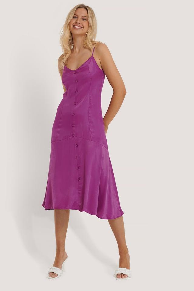 Purple Satijnen Jurk