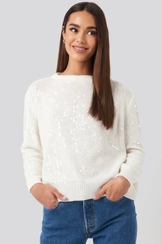 Ecru Sequin Sweater