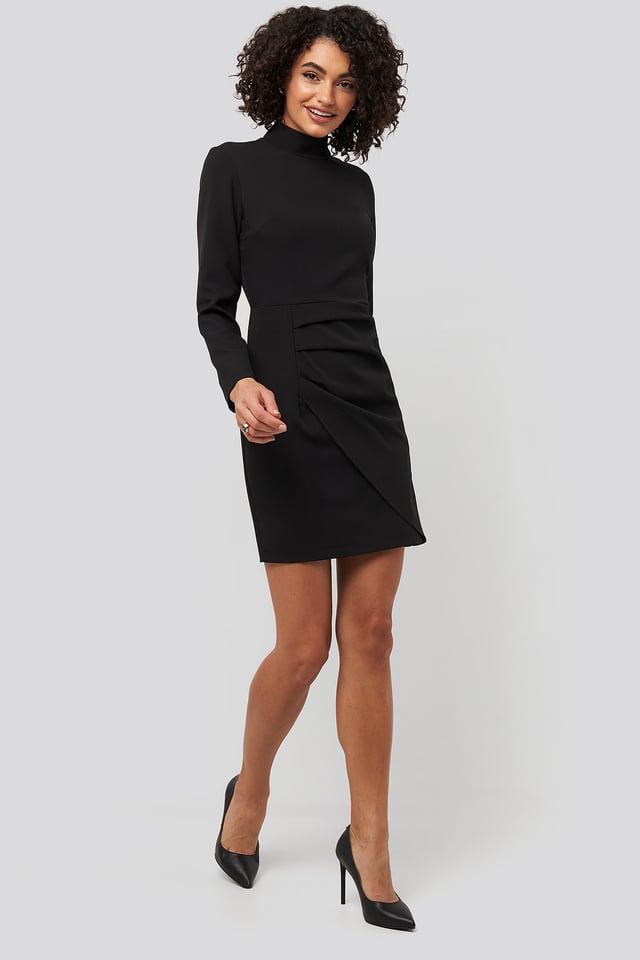 Sheer Neck Mini Dress Black
