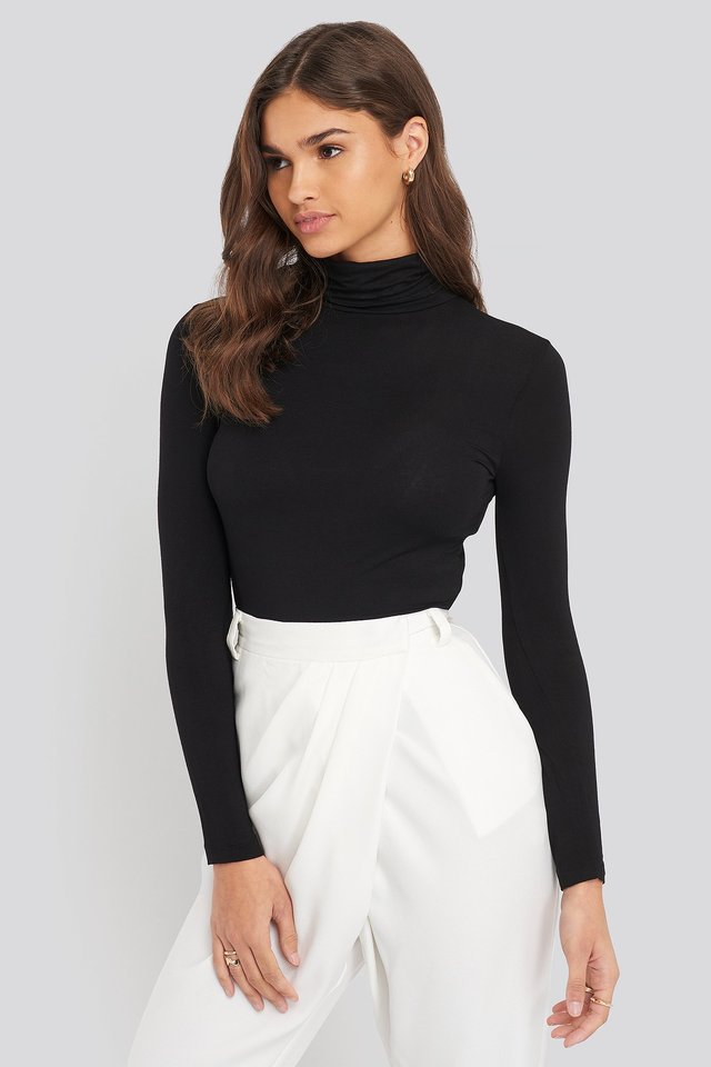 Black Sheer Turtleneck Top