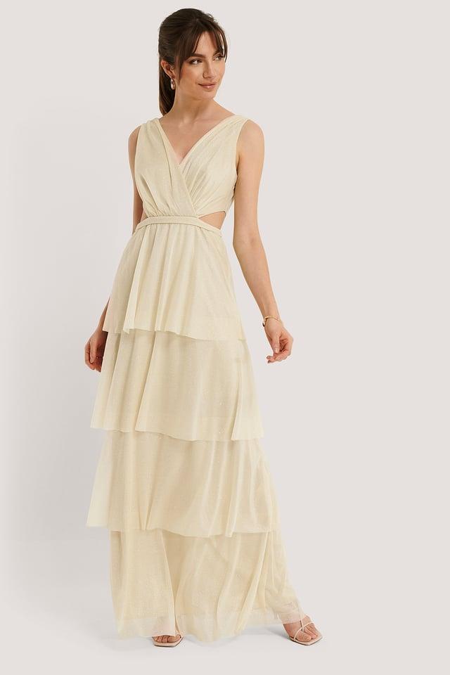 Beige Shimmering Ruffle Evening Dress