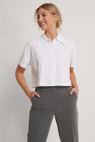 Ecru Shirt Met Korte Mouwen