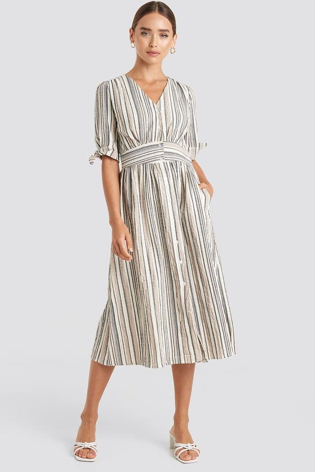 Short Sleeve Striped Midi Dress Trendyol