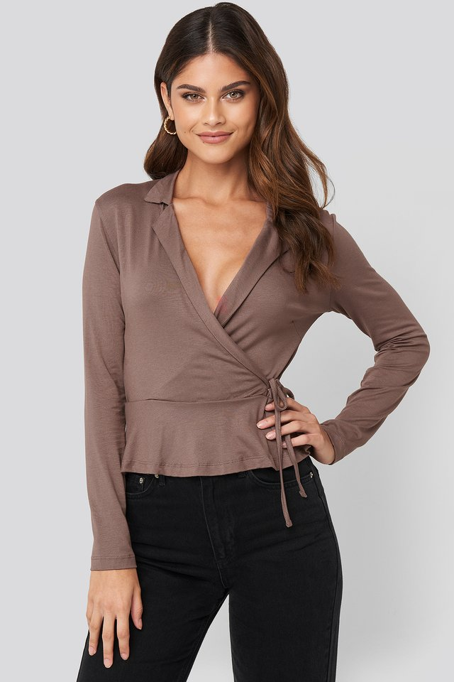 Side knot Detailed Wrap Blouse Mink