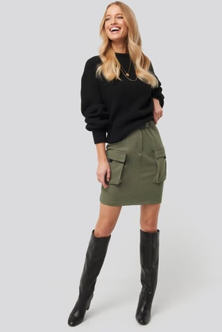 Khaki Side Pocket Detail Skirt
