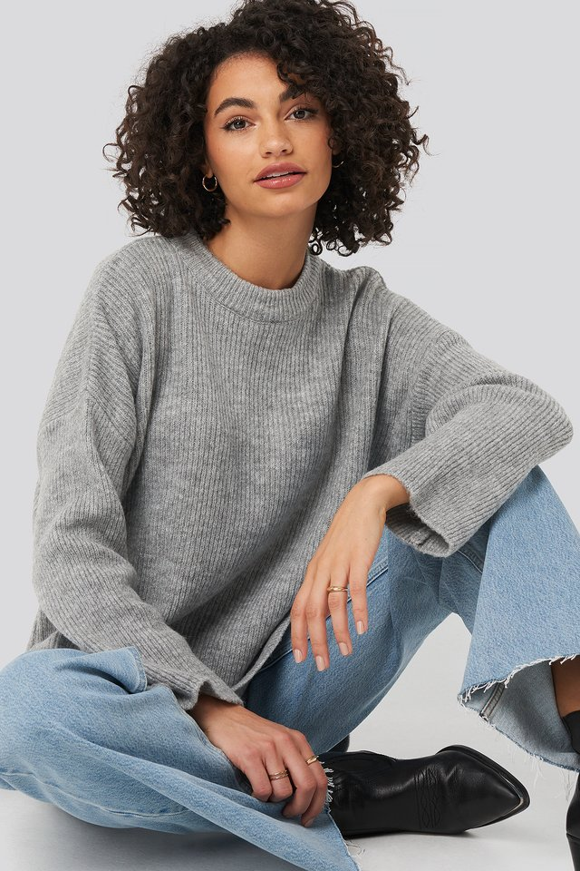 Side Slit knitted Sweater Gray