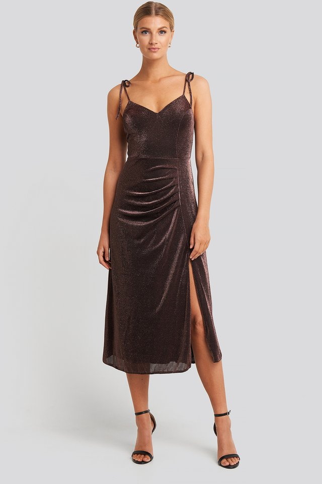 Side Slit Luminous Midi Dress Bronze