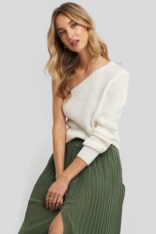 Ecru Single Shoulder Sweater