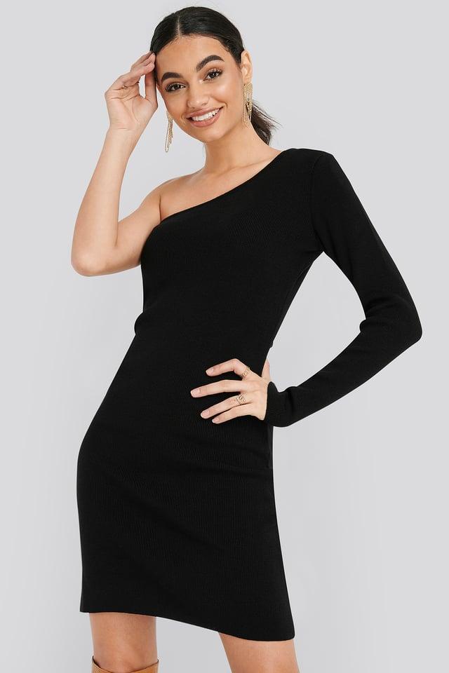 Single Sleeve Sweater Dress Black