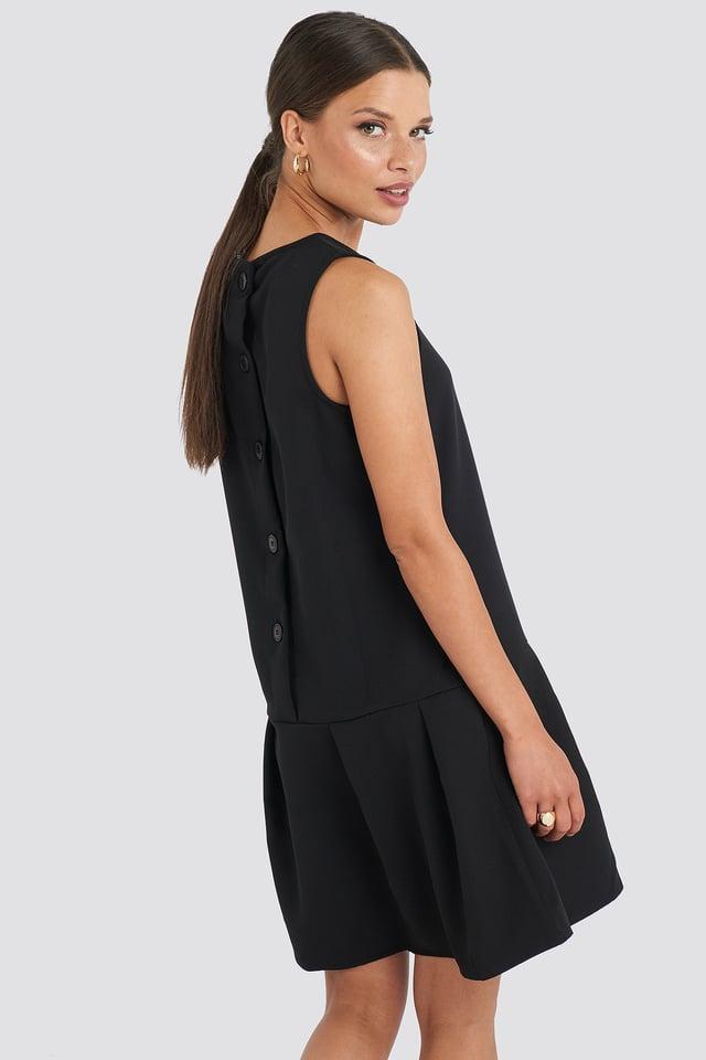 Sleeveless Flywheel Mini Dress Black