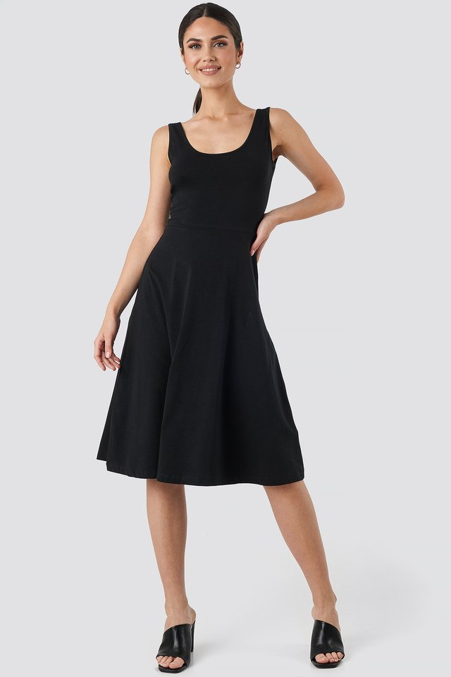 Sleeveless Jersey Midi Dress Black