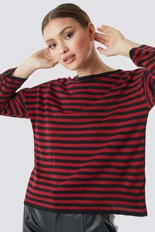 Red Slim Stripe Sweater