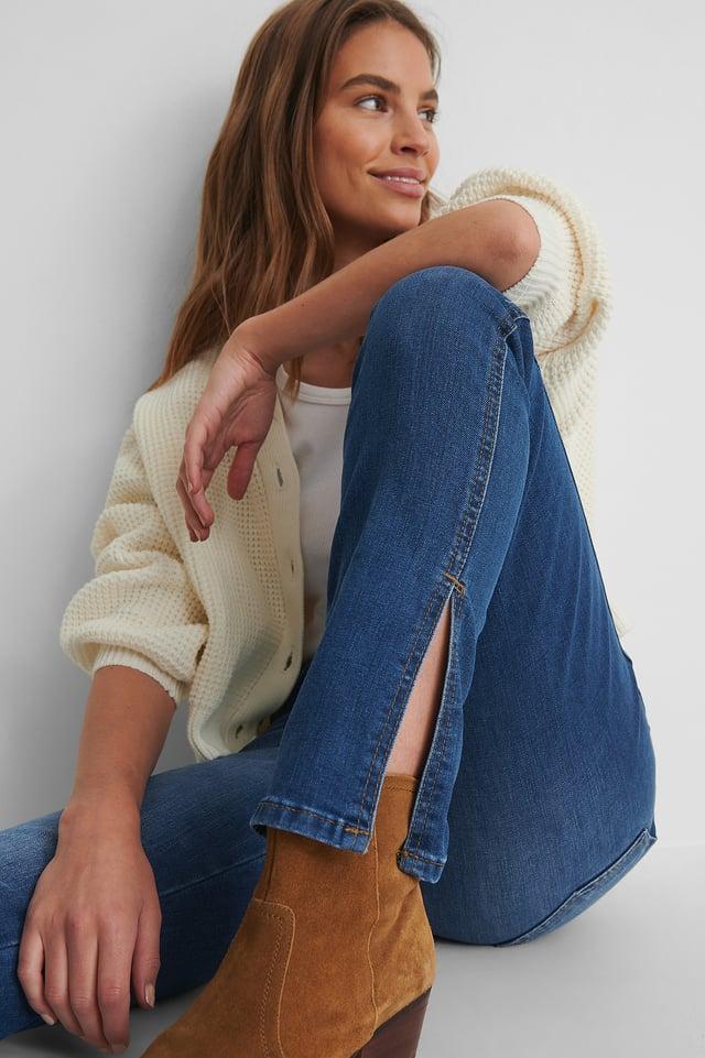 Blue Slit High Waist Slim Jeans