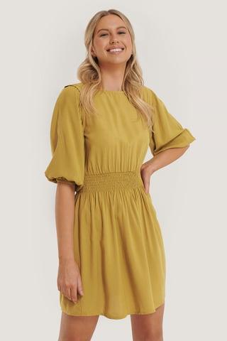 Green Smock Detail 3/4 Sleeve Dress