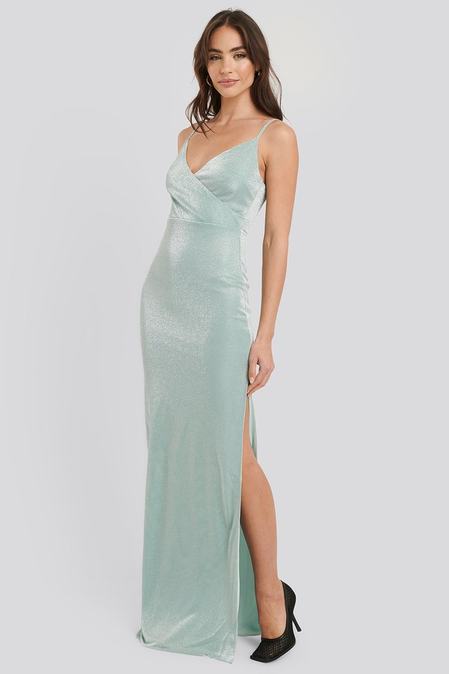 Sparkly Split Maxi Dress Green