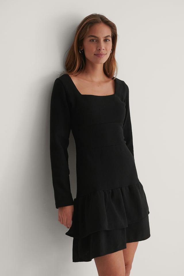 Black Square Neck Mini Dress