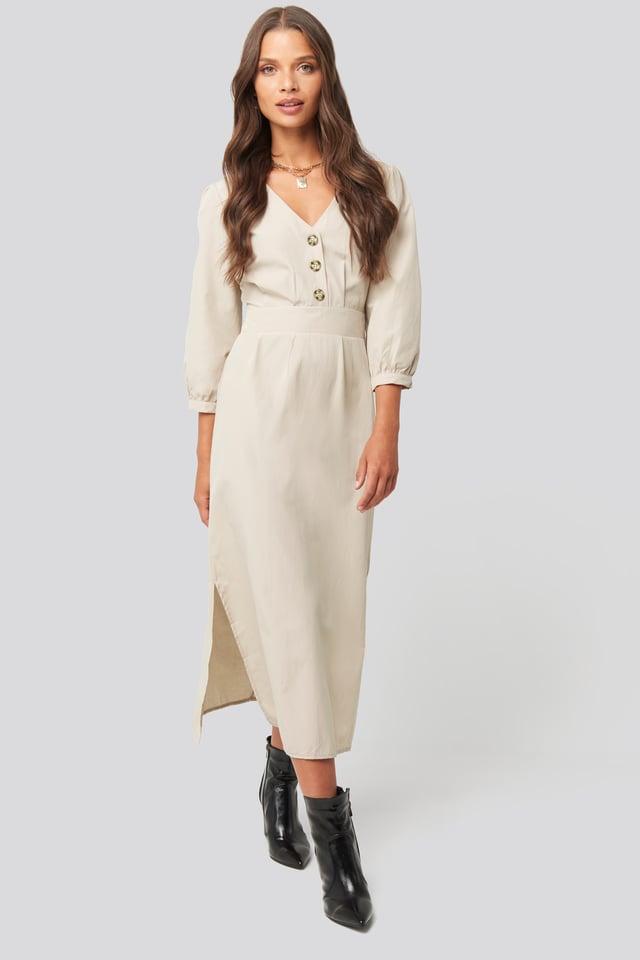 Stone Buttoned Midi Dress Stone
