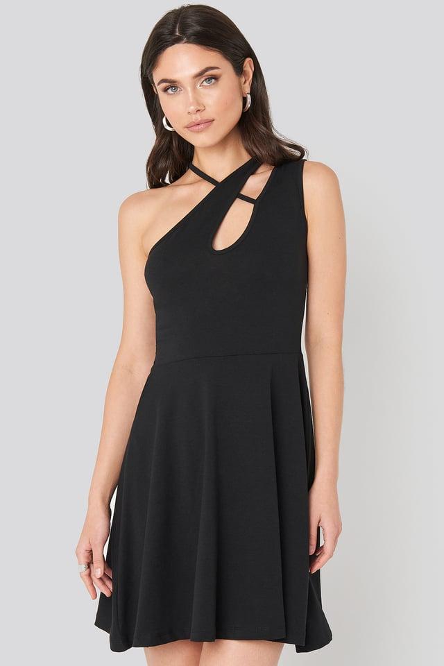 Strap Detail Mini Dress Black