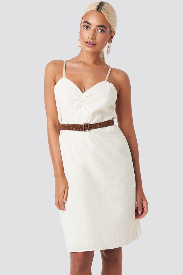 Strap Linen Mini Dress Beige