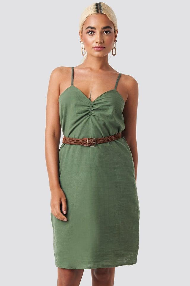 Strap Linen Mini Dress Khaki