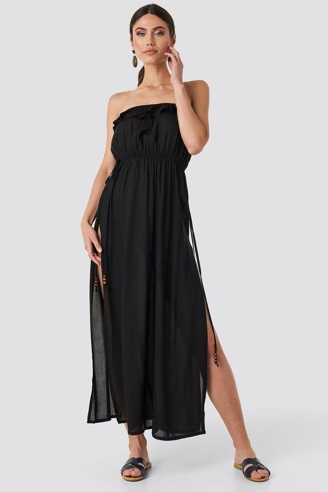 Strapless Frilly Viscose Beach Dress Black