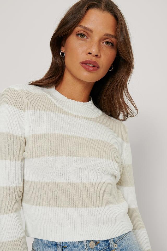 Striped Crop Sweater Ecru