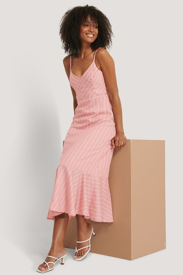 Striped Long Dress Pink
