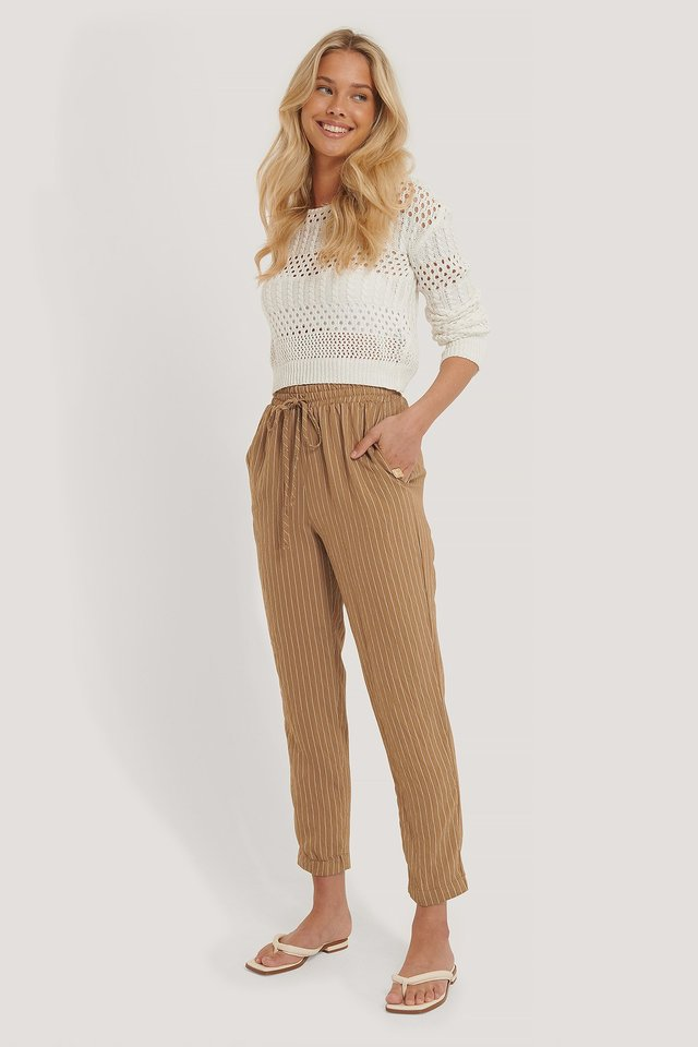 Striped Loose Trousers Beige