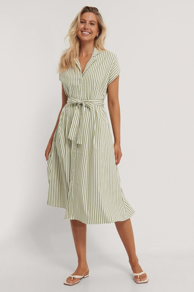 Striped Midi Dress Khaki
