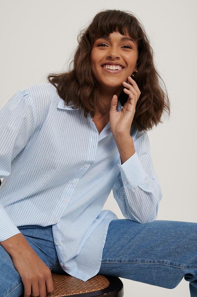 Blue Stribet Skjorte