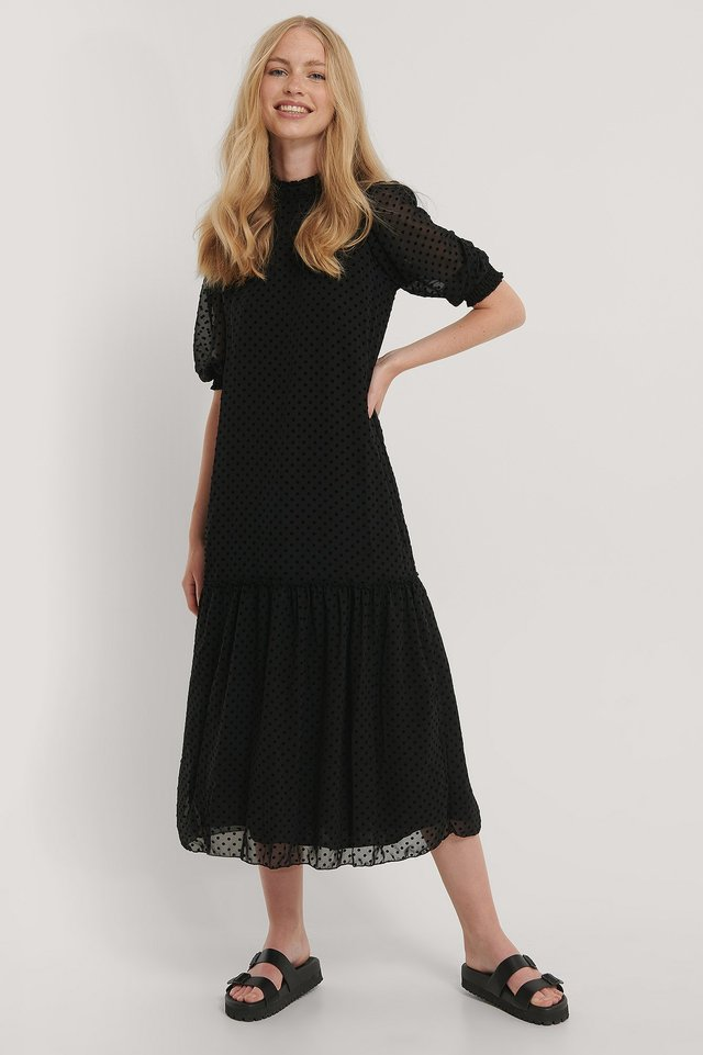 Black Textured Midi Dress