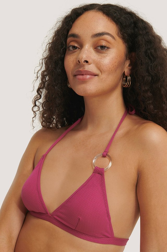Pink Textured Triangle Bikini Top