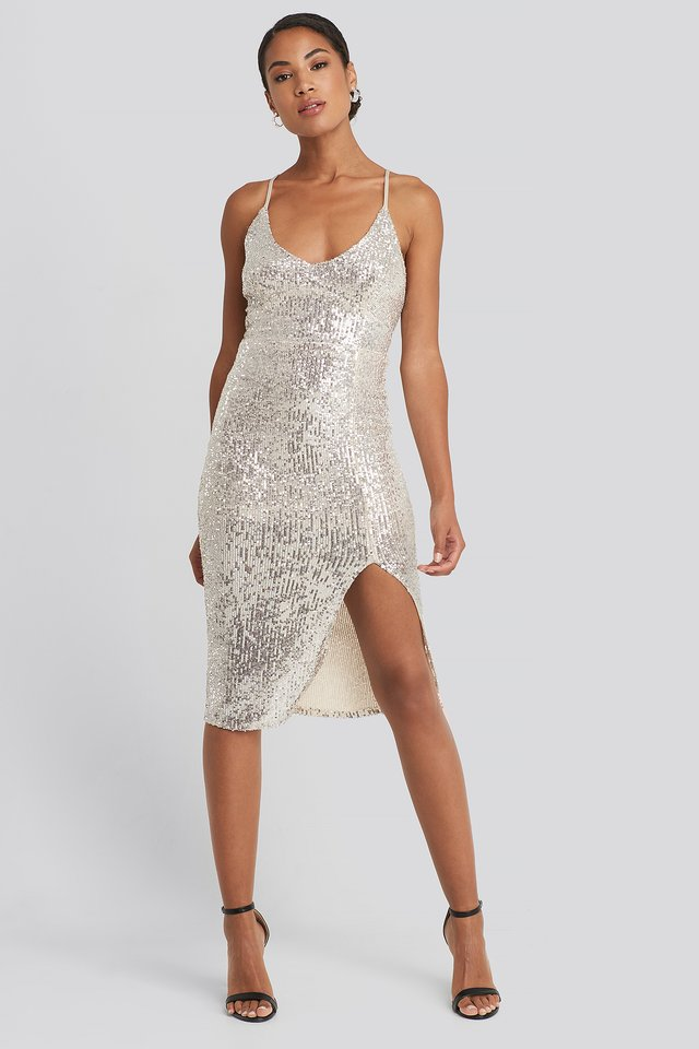 Thin Strap Back Detailed Sequin Midi Dress Silver